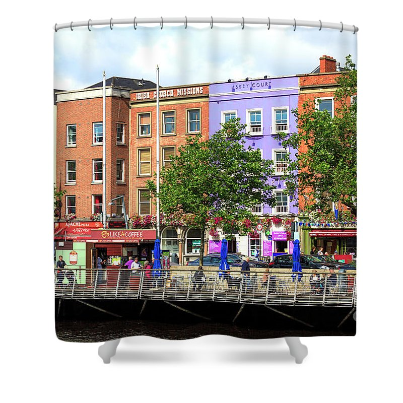 Dublin Building Colors Shower Curtain featuring the photograph Dublin Building Colors by John Rizzuto