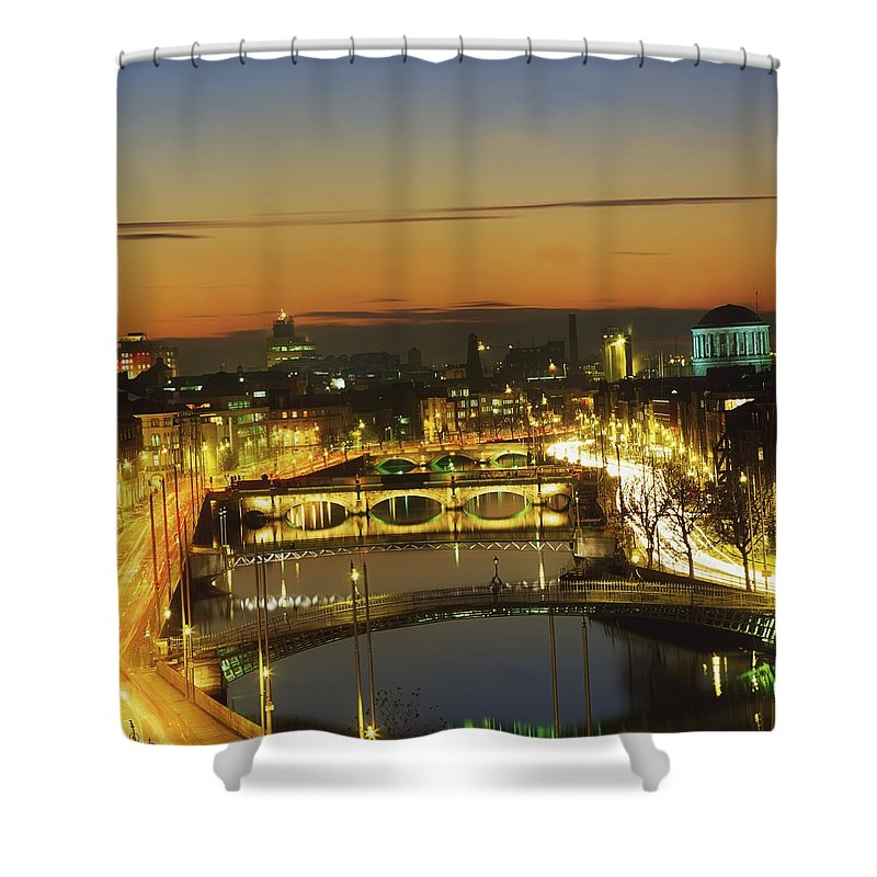 Bridge Shower Curtain featuring the photograph Dublin,co Dublin,irelandview Of The by The Irish Image Collection