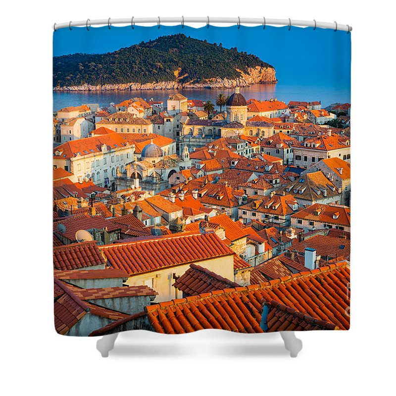 Adriatic Shower Curtain featuring the photograph Dubrovnik Rooftops by Inge Johnsson
