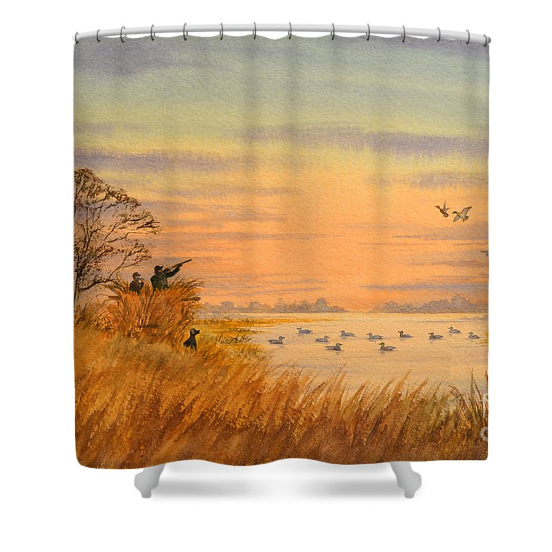 Duck Hunting Shower Curtain Featuring The Painting Calls By Bill Holkham