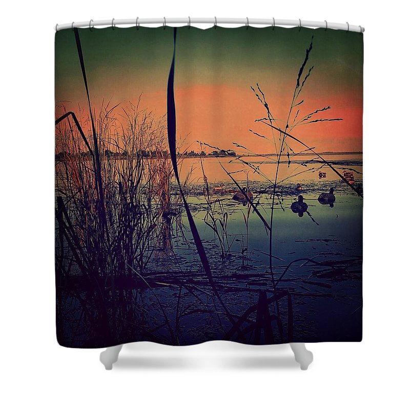 Ducks Shower Curtain Featuring The Photograph Duck Hunting Sunrise By Cheyene Vandament