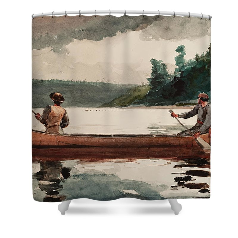 Winslow Homer Shower Curtain Featuring The Painting Duck Hunting By