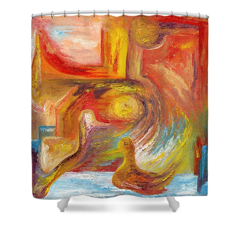 Duck Shower Curtain featuring the painting Duck The Alchemist by Karina Ishkhanova