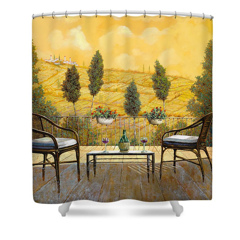 Terrace Shower Curtain featuring the painting due bicchieri di Chianti by Guido Borelli