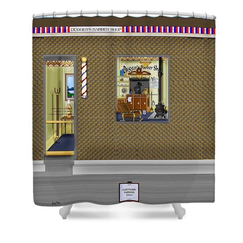 Townscape Shower Curtain featuring the painting Dugger's Barber Shop by Anne Norskog