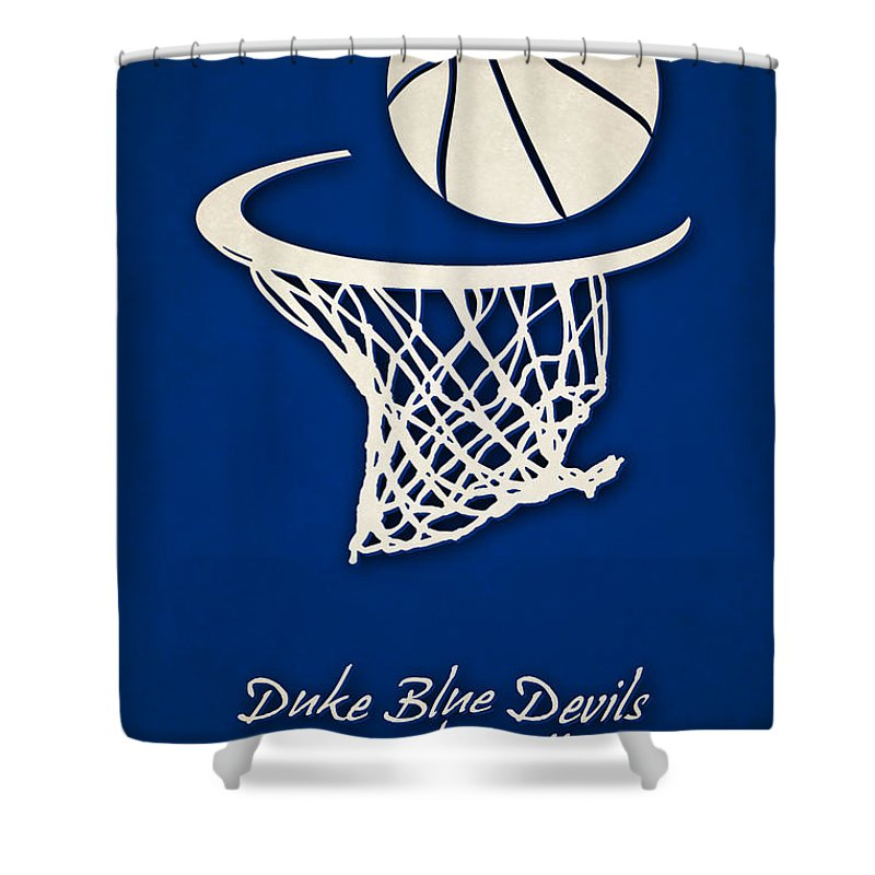 Duke Blue Devils Shower Curtain Featuring The Photograph Basketball By Joe Hamilton