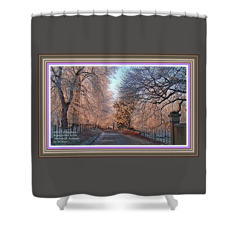 Winter Shower Curtain featuring the painting Dundalk Avenue In Winter. L A With Alt. Decorative Printed Frame. by Gert J Rheeders