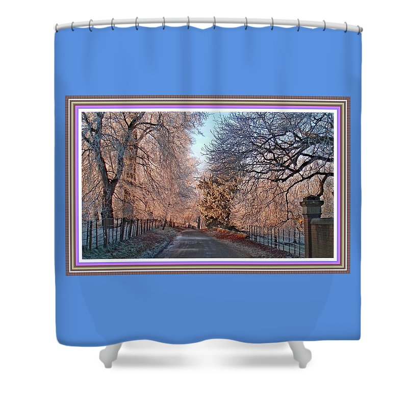 Winter Shower Curtain featuring the painting Dundalk Avenue In Winter. L B With Decorative Ornate Printed Frame. by Gert J Rheeders