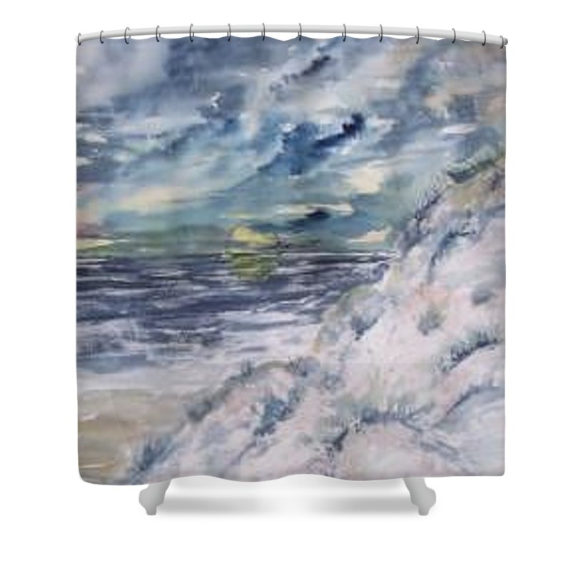 Seascape Shower Curtain featuring the painting Dunes 2 Seascape Painting Poster Print by Derek Mccrea