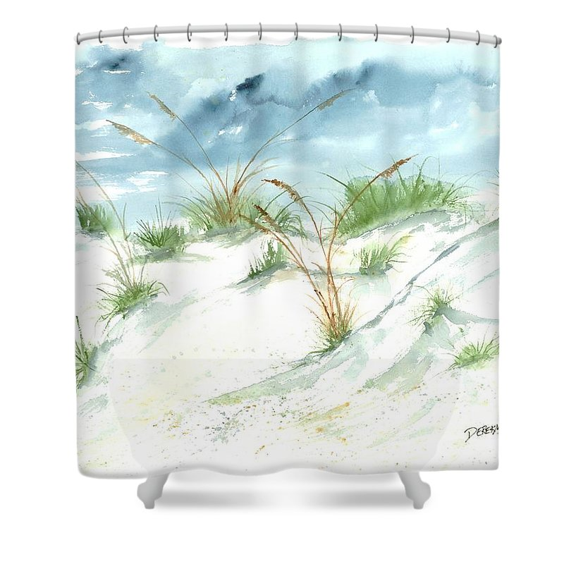 Beach Shower Curtain featuring the painting Dunes 3 Seascape Beach Painting Print by Derek Mccrea