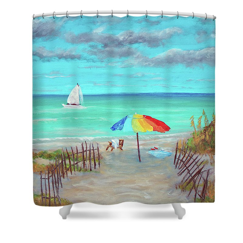 Miami Shower Curtain featuring the painting Dunes Beach Colorful Umbrella by Ken Figurski