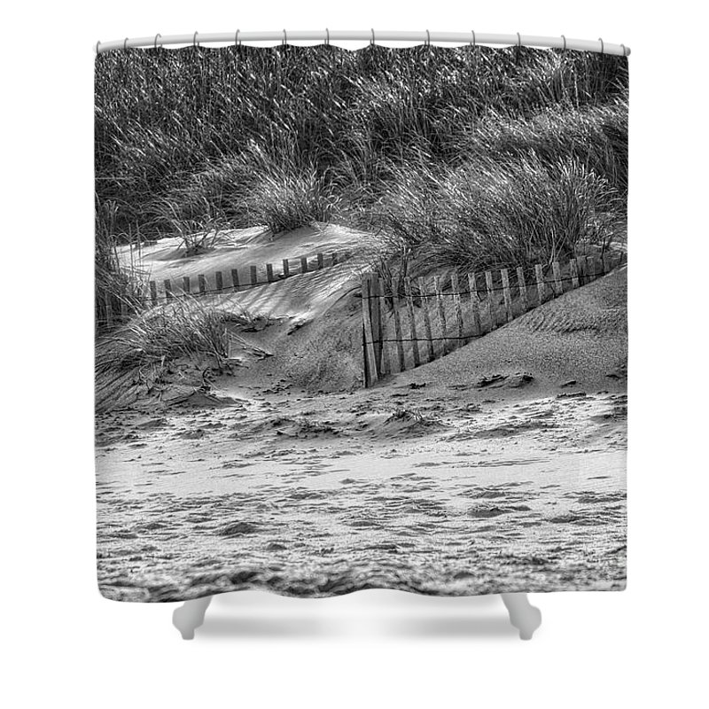 Dunes Shower Curtain featuring the photograph Dunes In Black And White by Karin Everhart