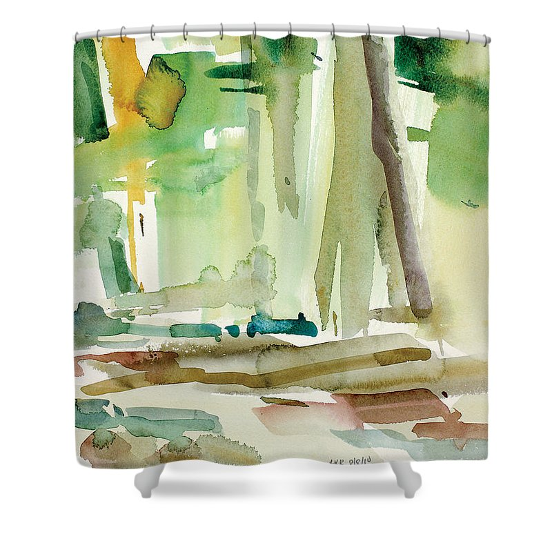 Intuitive Shower Curtain featuring the painting Dunfield-creek-_20-11x14 by Arthur Kvarnstrom