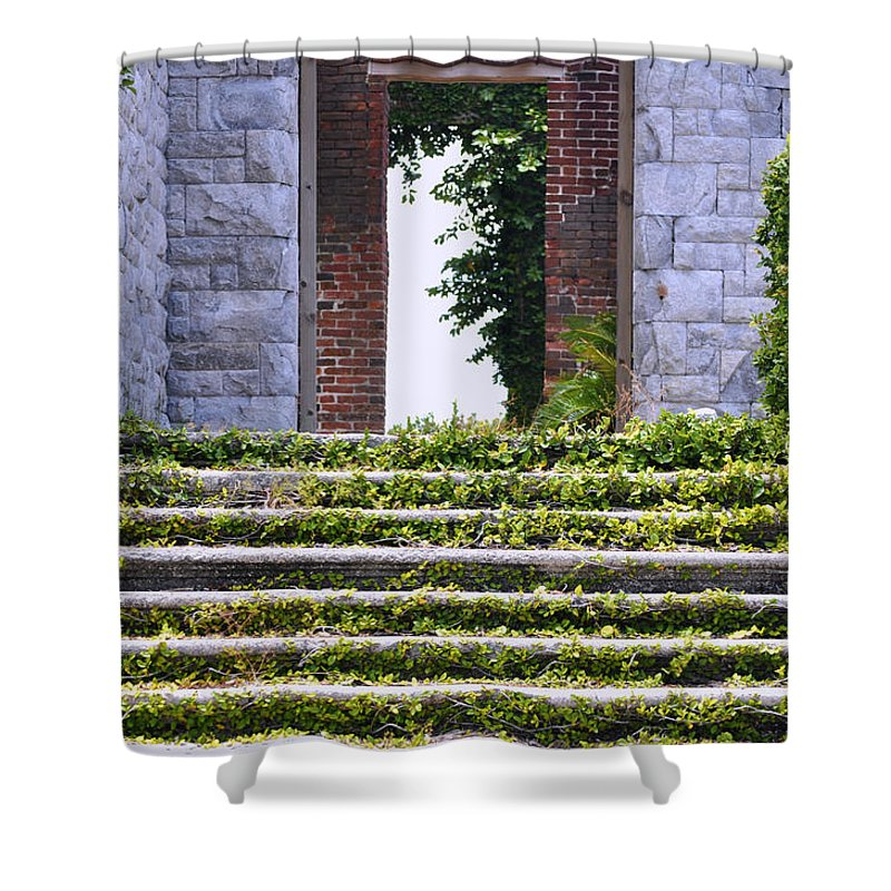 Cumberland Island Shower Curtain featuring the photograph Dungeness Front Steps by Debra White