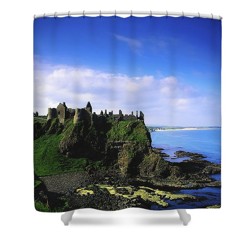 Archeology Shower Curtain featuring the photograph Dunluce Castle, Co Antrim, Irish, 13th by The Irish Image Collection