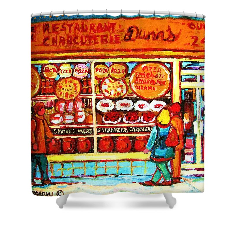 Montreal Shower Curtain featuring the painting Dunn's Treats And Sweets by Carole Spandau
