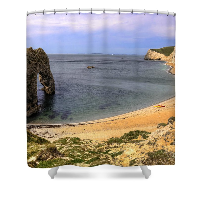 Durdle Shower Curtain featuring the photograph Durdle Door by Rob Hawkins