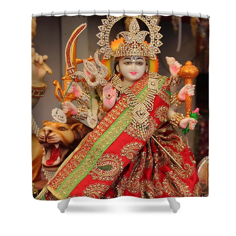 Durga Shower Curtain Featuring The Photograph In Madho Bhag Mumbai By Jennifer Mazzucco