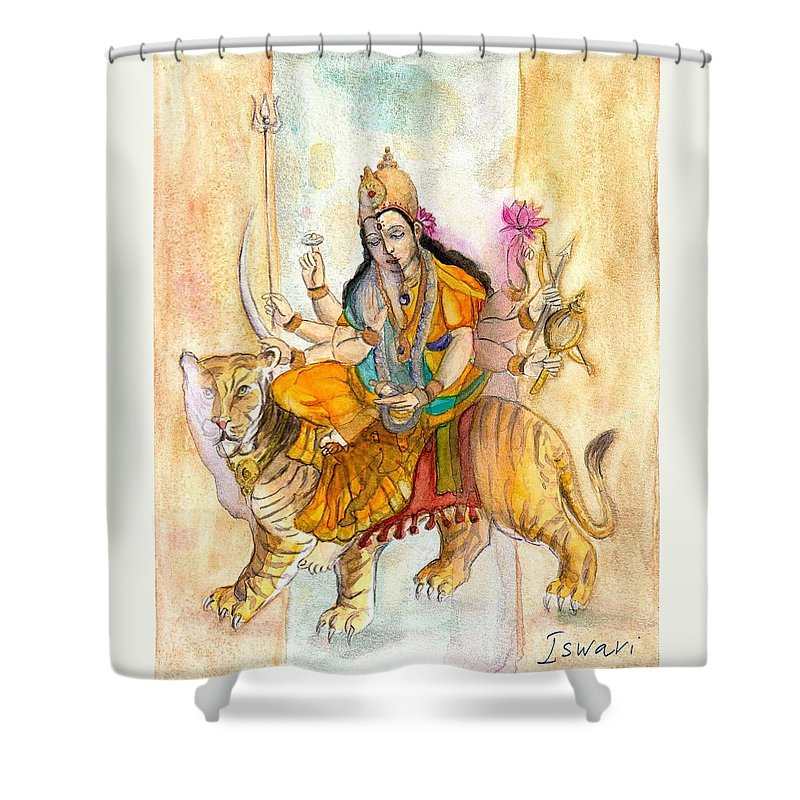 Durga Shower Curtain featuring the painting Durga by Iris Kovalio