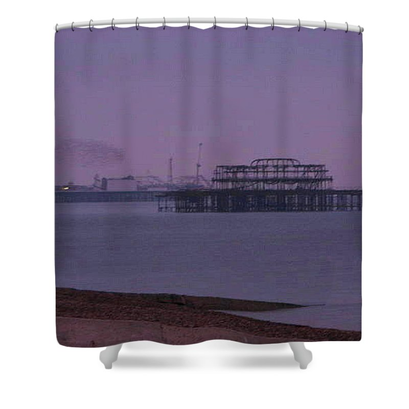 Starlings Shower Curtain featuring the photograph Dusk And Starlings by Maria Joy