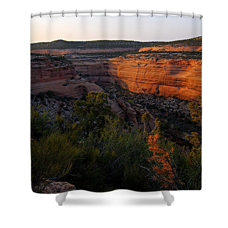 Colorado National Monument Shower Curtain featuring the photograph Dusk At Colorado National Monument by Larry Ricker