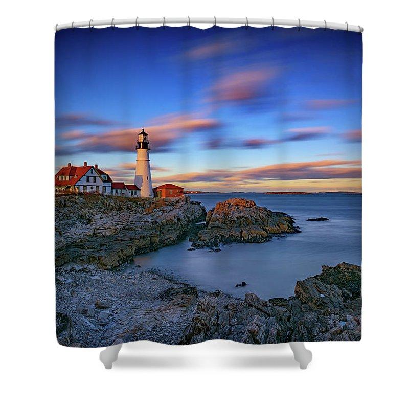 Portland Head Lighthouse Shower Curtain featuring the photograph Dusk At Portland Head Lighthouse by Rick Berk