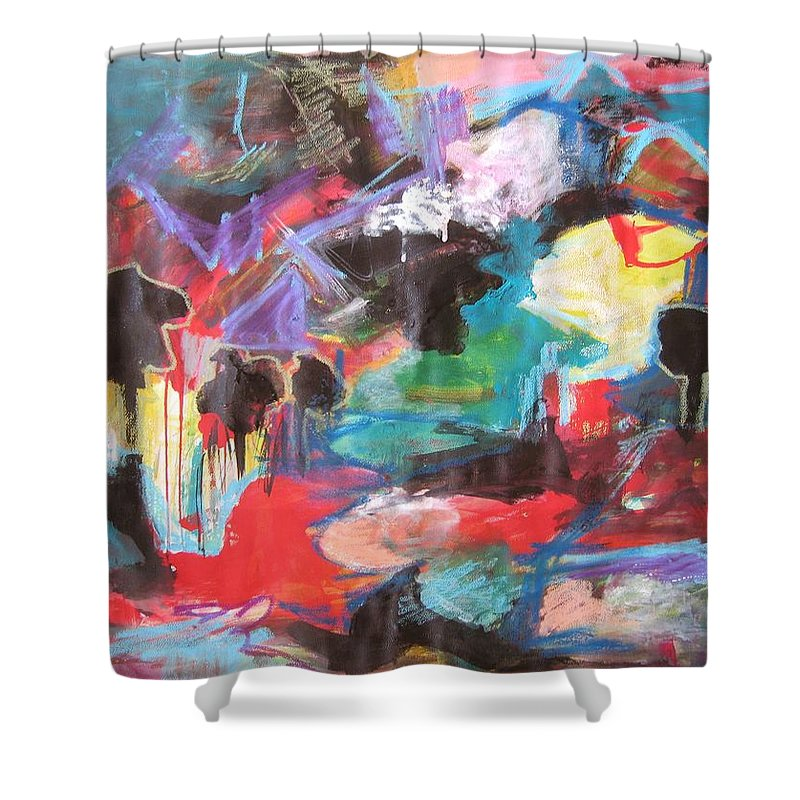 Original Shower Curtain featuring the painting dusk in Bay Roberts by Seon-Jeong Kim