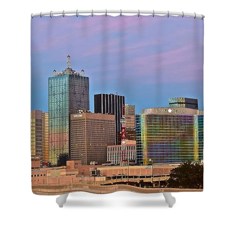 Dallas Shower Curtain featuring the photograph Dusk In Dallas by Skyline Photos of America