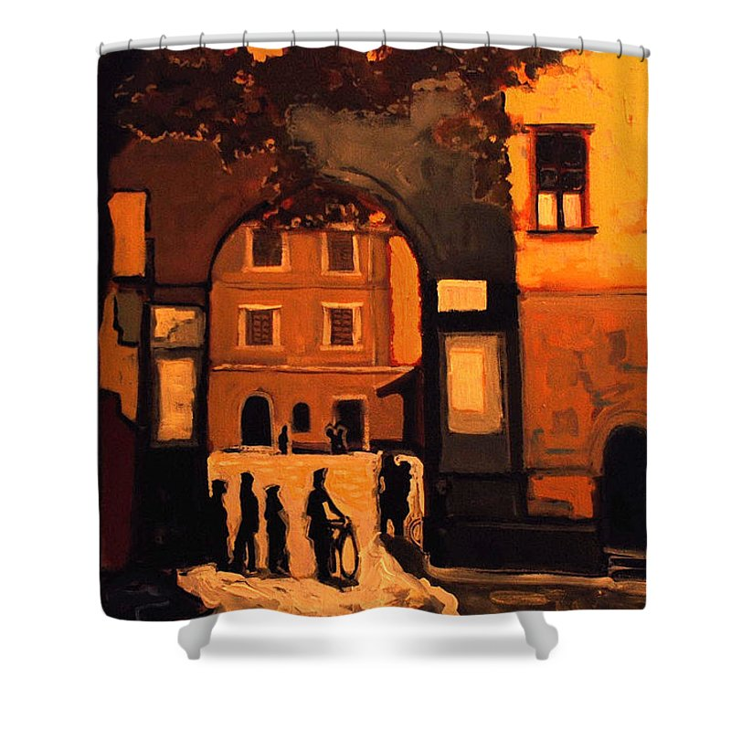 Cityscape Shower Curtain featuring the painting Dusk by Kurt Hausmann
