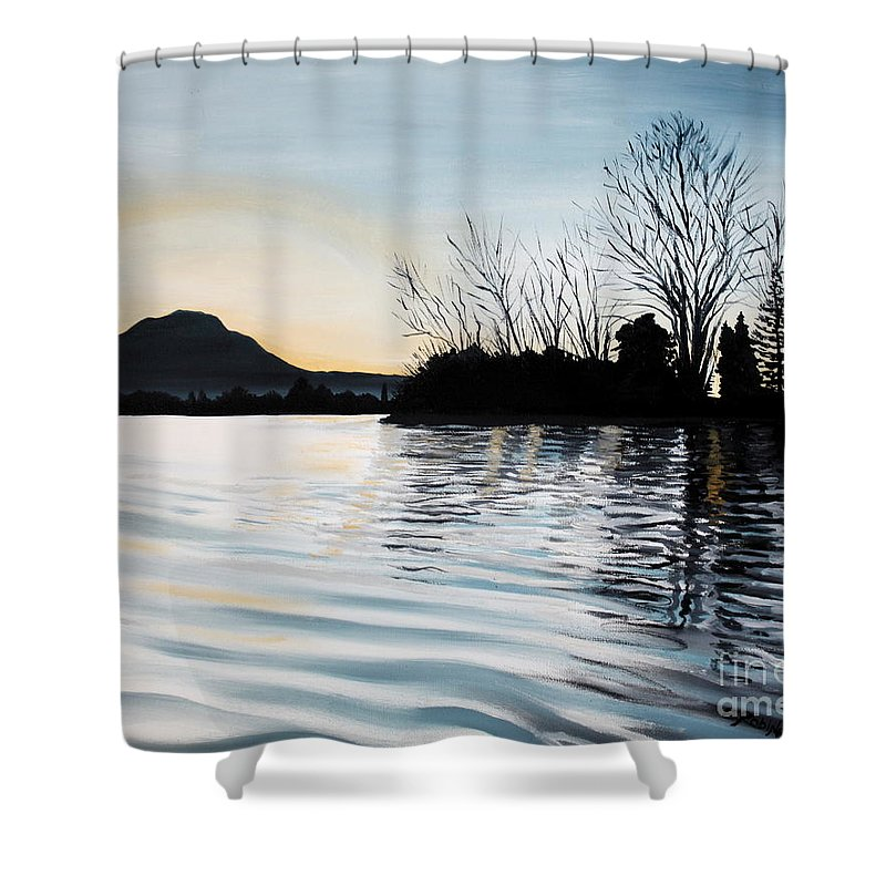 Dusk Shower Curtain featuring the painting Dusk On Diablo by Elizabeth Robinette Tyndall