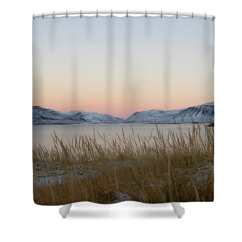 Sunset Shower Curtain featuring the photograph Dusk On Grundarfjordur by Porter Glendinning