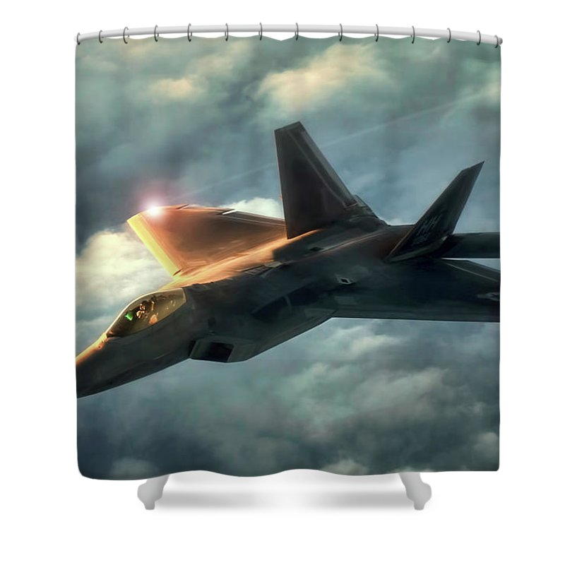 Aviation Shower Curtain featuring the digital art Dusk Raptor by Peter Chilelli