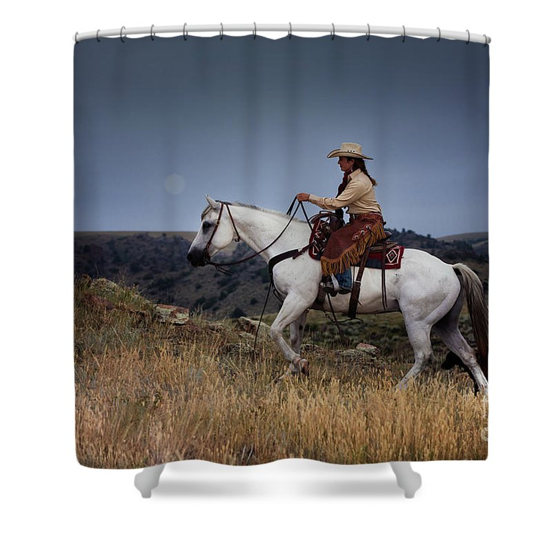 Cowgirl Shower Curtain featuring the photograph Dusk Ride by Terri Cage