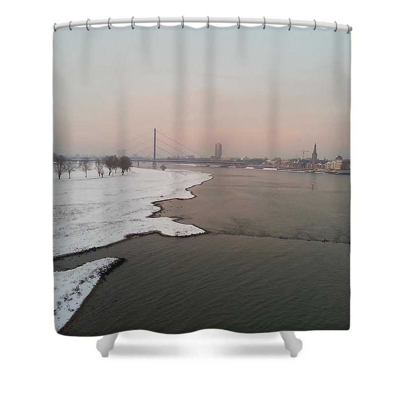 Landscape Shower Curtain featuring the photograph Dusseldorf Rhine In The Snow by Danielle Andrews