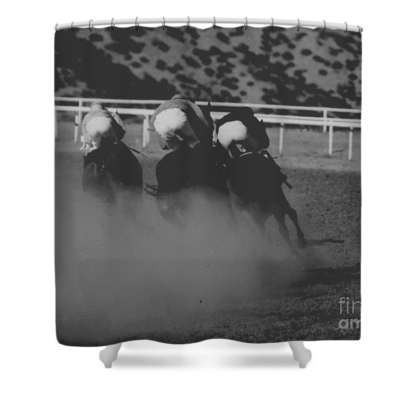 Horse Shower Curtain featuring the photograph Dust And Butts by Kathy McClure