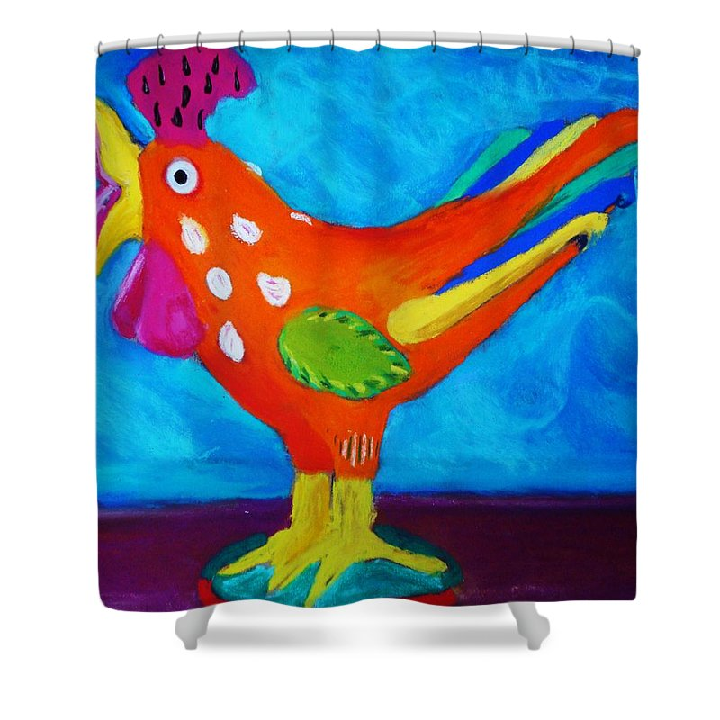 Bird Shower Curtain featuring the pastel Dusty's Chick by Melinda Etzold