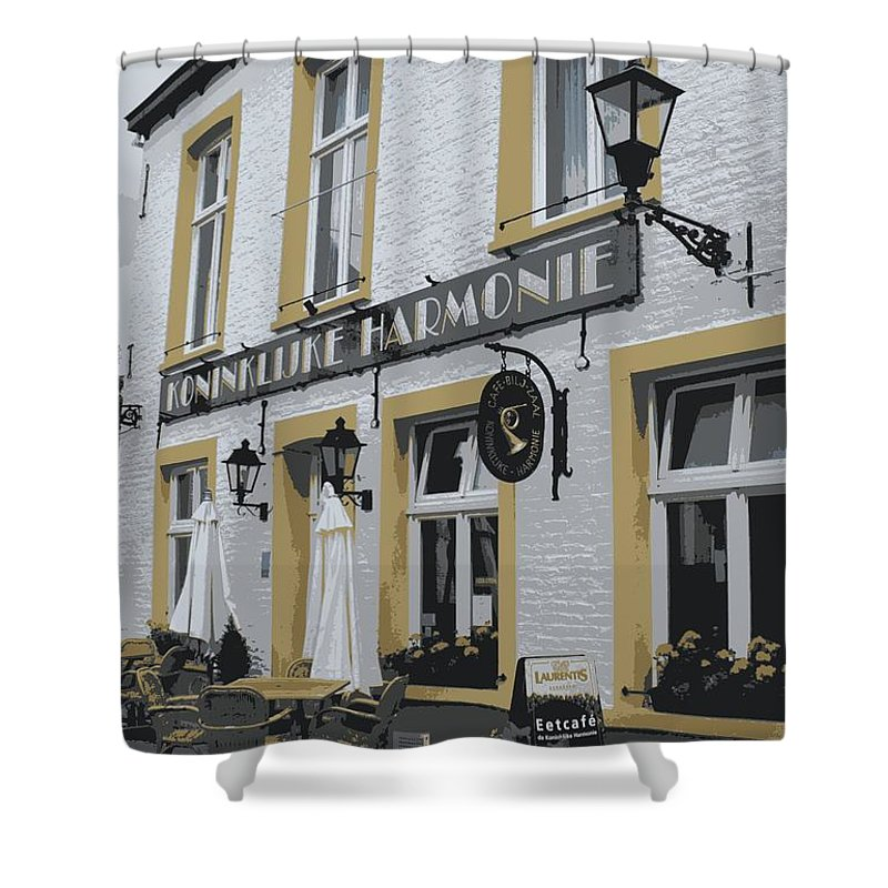 Gray And Yellow Shower Curtain featuring the photograph Dutch Cafe - Digital by Carol Groenen