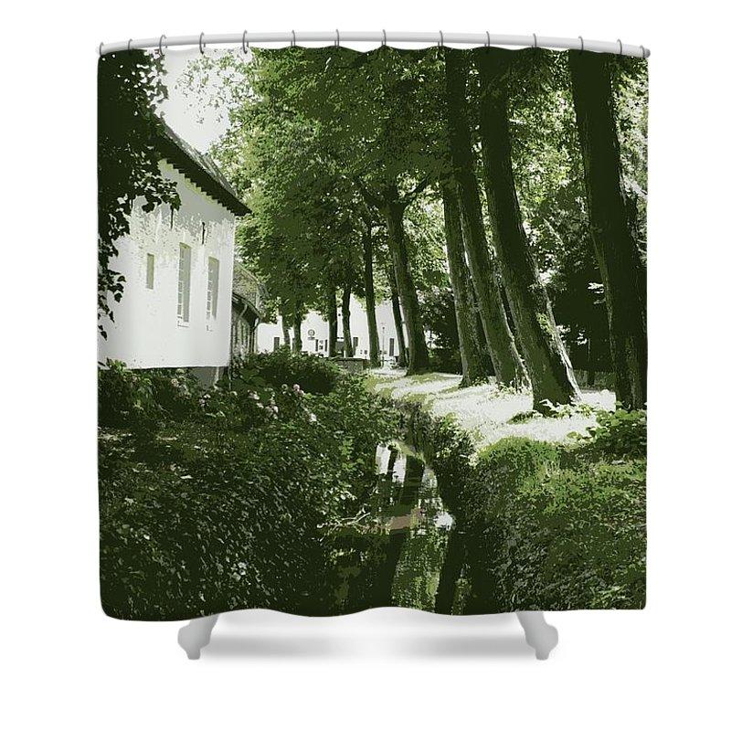 Dutch Shower Curtain featuring the photograph Dutch Canal - Digital by Carol Groenen