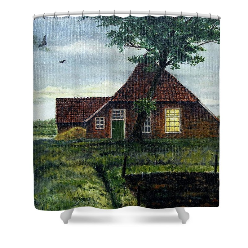 Farm Shower Curtain featuring the painting Dutch Farm At Dusk by Arie Van der Wijst