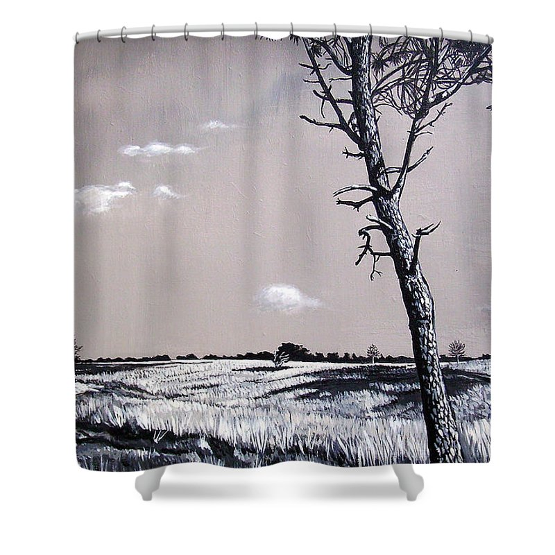 Duotone Shower Curtain featuring the painting Dutch Heathland by Arie Van der Wijst