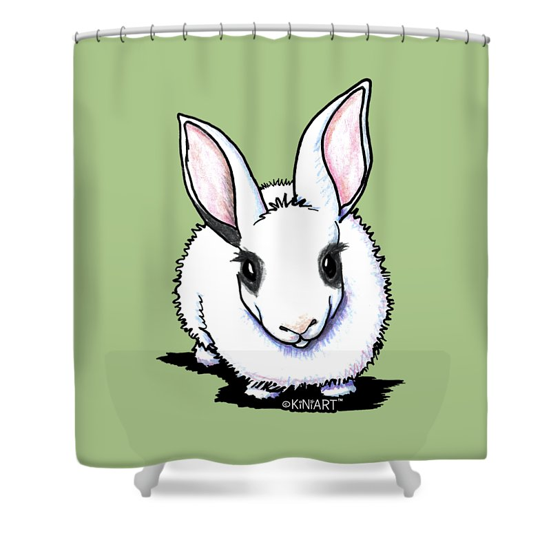 Dwarf Hotot Shower Curtain Featuring The Drawing Bunny Rabbit By Kim Niles