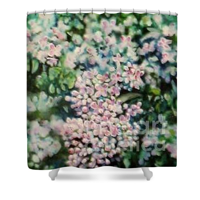 Lilacs Shower Curtain featuring the painting Dwarf Korean Lilac by Karen Sloan