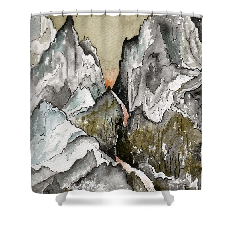 Landscape Shower Curtain featuring the painting Dwimorberg   The Haunted Mountain by Brenda Owen