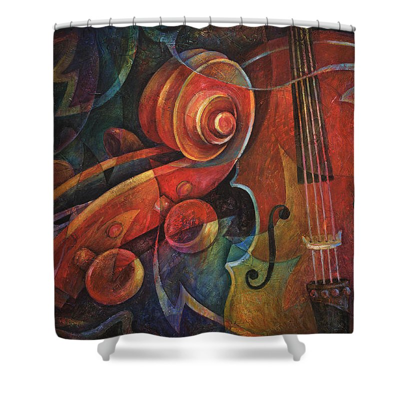 Susanne Clark Shower Curtain featuring the painting Dynamic Duo - Cello And Scroll by Susanne Clark