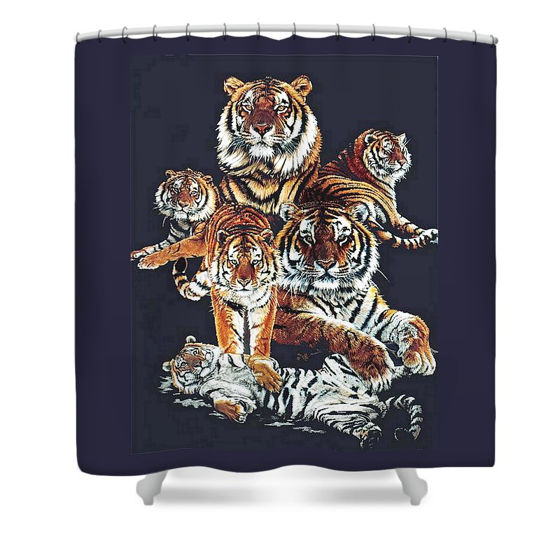 Tiger Shower Curtain featuring the drawing Dynasty by Barbara Keith