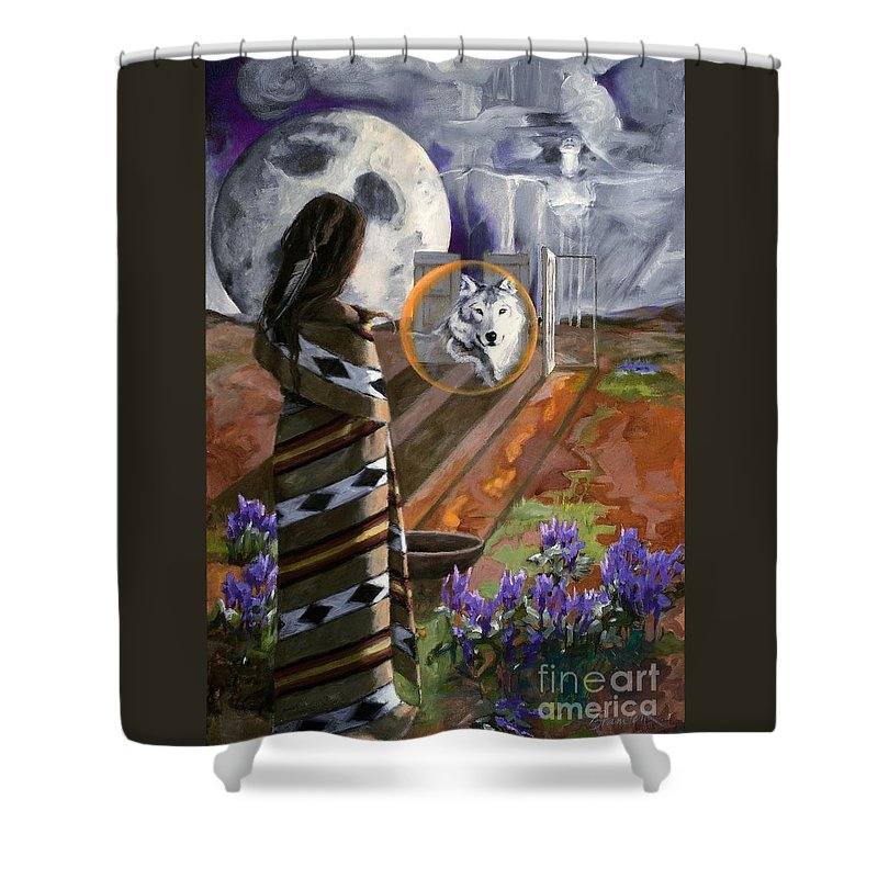 Native American Shower Curtain featuring the painting E He Na   Come by Michele Bramlett