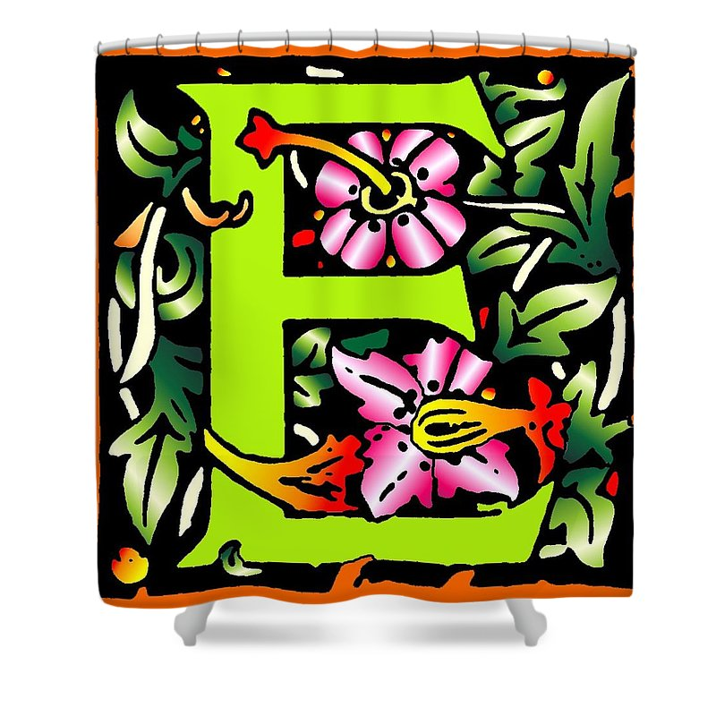Alphabet Shower Curtain featuring the digital art E In Green by Kathleen Sepulveda