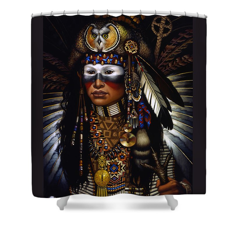 Indian Shower Curtain featuring the painting Eagle Claw by Jane Whiting Chrzanoska
