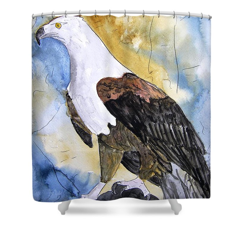 Realistic Shower Curtain featuring the painting Eagle by Derek Mccrea