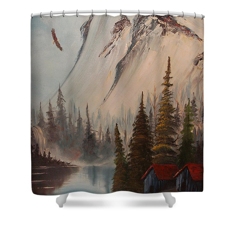Mountains Landscape With Eagle And Stream Shower Curtain featuring the painting Eagle Mountain by Scott Easom